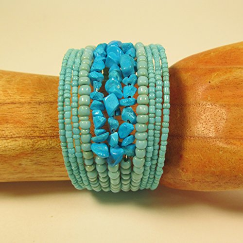 Bali Bay Turquoise Glass Beaded Stone Chip Cuff Southwestern Bracelet