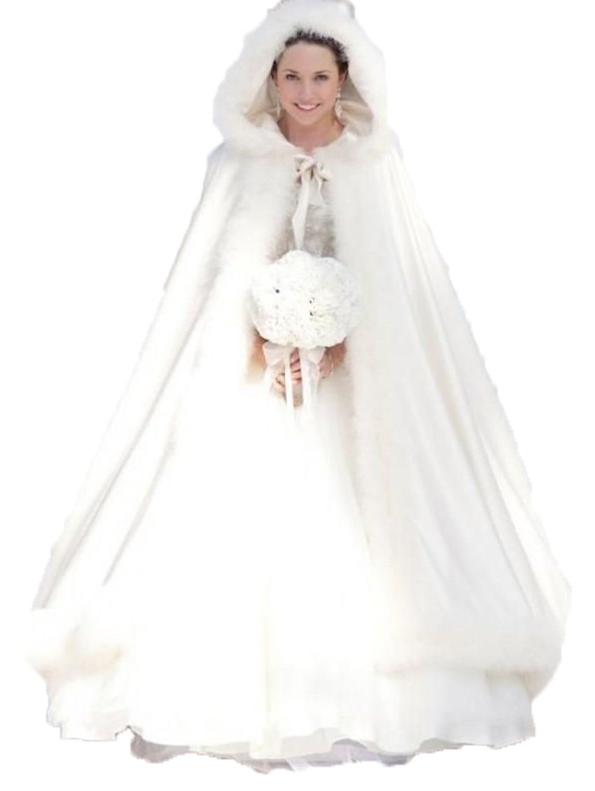 DKBridal Women's Long Fur Cape For Bride Winter Cloak With Hat (One Size, White)