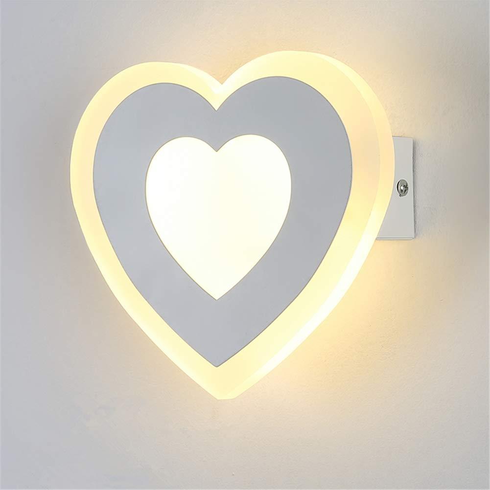 Wandleuchte Innen Moderne einfache LED warmes Licht 12W Art kreativer Liebes-Herz-Entwurfs-Schmiedeeisen-Acryl wand-Lampe für Wohnzimmer Schlafzimmer Restaurant Flur Wandleuchte
