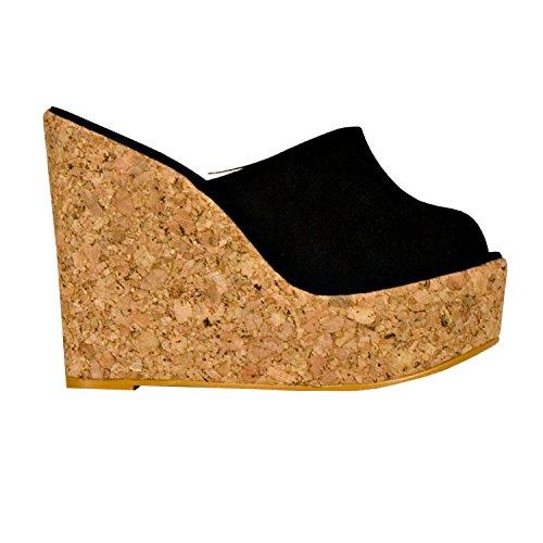 Syktkmx Womens Platform Wedge Sandals High Heel Slip on Peep Toe Cork Mules Slides (9 B(M) US, Black)