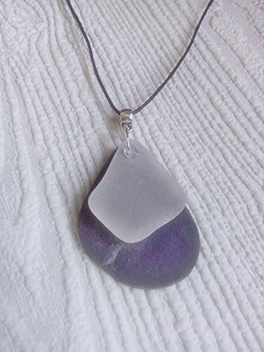 (Welsh sea slate and sea glass pendant)