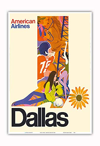 Pacifica Island Art - Dallas, Texas - Cowboy Boot with Sunflower Spur - American Airlines - Vintage Airline Travel Poster c.1960s - Master Art Print - 13in x 19in