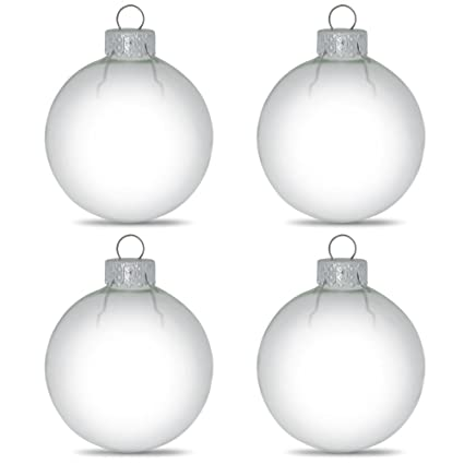 Clear Christmas Ornaments.Amazon Com Bestpysanky Set Of 4 Clear Glass Ball Christmas