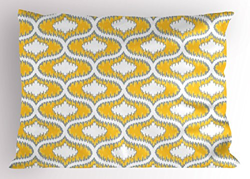 """Lunarable Mustard Pillow Sham, Eastern Ikat Style Pattern with Modern Blurry Color Distortion Effects, Decorative Standard Size Printed Pillowcase, 26"""" X 20"""", Yellow Grey"""