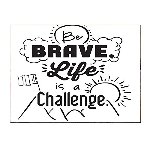 SATVSHOP Small mural-20Lx20W-Be Brave Life is A Challenge Enduring Incentive Mountain Peak Sunrise Flag.Self-Adhesive backplane/Detachable Modern Decorative Art.