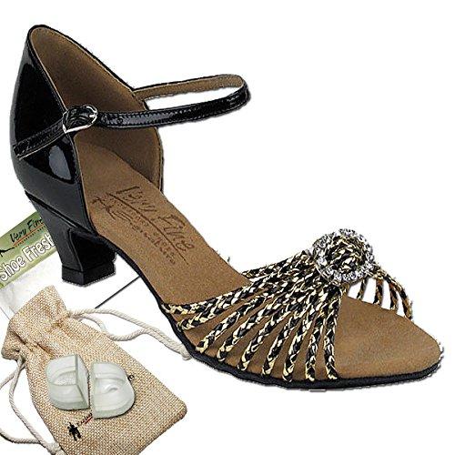 Women's Ballroom Dance Shoes Salsa Latin Practice Dance Shoes Black & Gold Braid S9283EB Comfortable - Very Fine 1.2