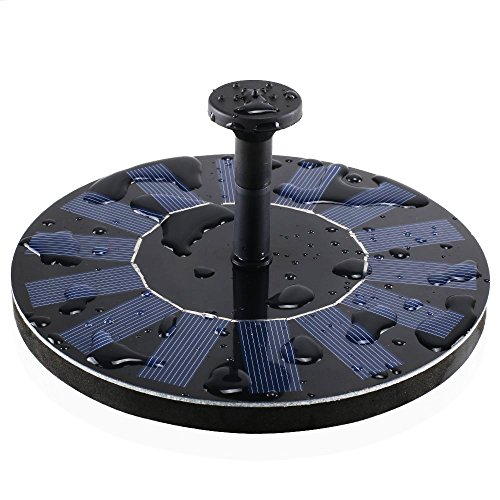 Royalsell Solar Fountain Pump, Free Standing 1.4W Bird Bath Fountain Pump for Garden and Patio, Solar Panel Kit Water Pump (Black)