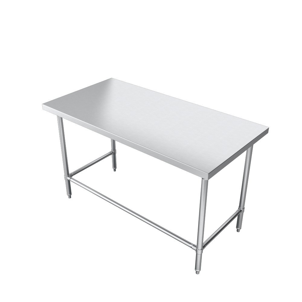 Elkay Foodservice Chef's Choice Work Table, 24''X84'' OA, 36'' Working Height, Flat Top, Galvanized Cross Brace, Turned Down Table Edge, Galvanized Legs With Adjustable 1'' Feet, 16 Gauge 300 Series Stainless Steel, NSF Certified by Elkay Foodservice (Image #6)