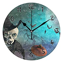 Dozili Halloween Skeleton Castle Wooden Round Wall Clock Arabic Numerals Design Non Ticking Wall Clock Large for Bedrooms,Living Room,Bathroom