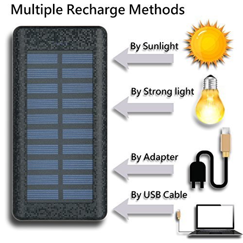Solar Charger 24000mAh HuaF Power Bank Portable Charger Battery Pack With Dual Recharge Methods By Socket By Light For iPhone, iPad, Tablet, Samsung Galaxy, Android Phone And More by HuaF (Image #2)