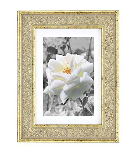 Golden State Art 5x7 Frame for 4x6 Photo with White Mat, Tab