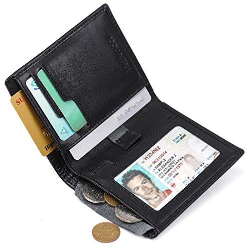 Huztencor Wallets for Men Bifold RFID Blocking Front Pocket Wallet Leather Slim Credit Card Holder Men's Minimalist Wallet Card Sleeve Wallet Case for Men with Coin Pocket - Pocket Coin Holder