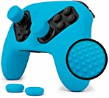 Nintendo Switch Pro Controller Skin Set by Foamy Lizard – AlphaPro Grip, STUDDED Sweat Free Silicone Cover w/ Flat Anti-slip Studs PLUS set of 4 QSS-Pro Thumb Grips (SKIN + QSS-P GRIPS, BLUE)