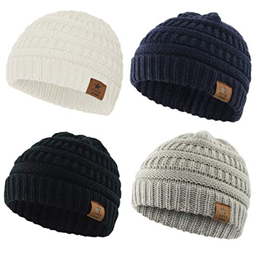 Durio Baby Boy Gifts Baby Gifts for Baby Infant Toddler Winter Hat J 4 Pack Black & Light Grey & Navy & White One Size