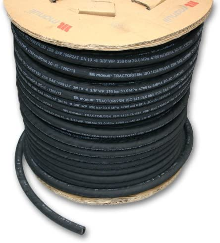 3//8 ID x 10m Length Manuli Tractor 2SN Hydraulic Hose SAE 100R2AT 2-Wire MSHA Cover