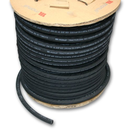 Manuli Tractor 2SN Hydraulic Hose - 3/8' ID x 25m Length - SAE 100R2AT 2-Wire, MSHA Cover