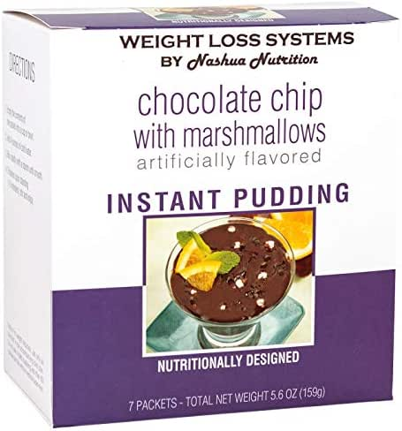 Weight Loss Systems Pudding - Chocolate Chip with Marshmallows - High Protein 12g - Low Calorie - Low Carb - Low Fat - 15% DV Calcium - 7/Box
