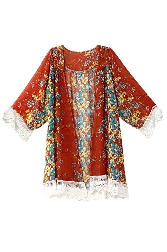 Chiffon Giacche Manica Red Palangaro Nimpansa Outwear Della Cardigan Lunga Donne Daily 60HCUqOw
