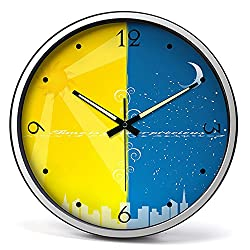 Nordic Style Wall Clock, Metal Frame, Ideal For Use In The Home, Kitchen, Office, 35cm (Silver)