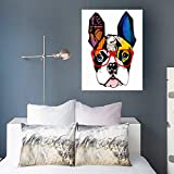 AlliuCoo Painting Canvas Print Canvas Wall Art French Bulldog Wearing Sunglasses Wildlife Watercolor Modern Artwork Printing 16 x 16 Home Decor Office Bedroom
