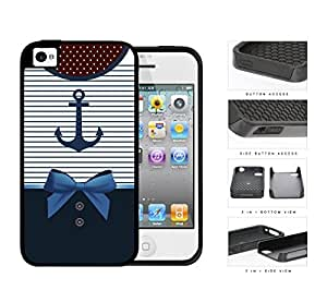 Sailor Anchor Dress 2-Piece Dual Layer High Impact Rubber Silicone Cell Phone Case Apple iPhone 4 4s