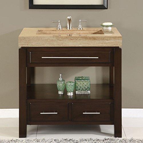 (Silkroad Exclusive HYP-0218-T-36 Dark Walnut Stone Top Single Sink Bathroom Vanity with Cabinet, 36