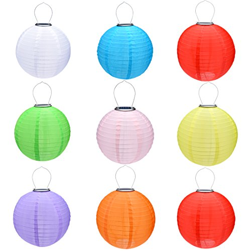 uxcell 9 Packs Multi-Color 10'' Solar Powered Lanterns Chinese Hanging Solar Lamps for Christmas Party by uxcell