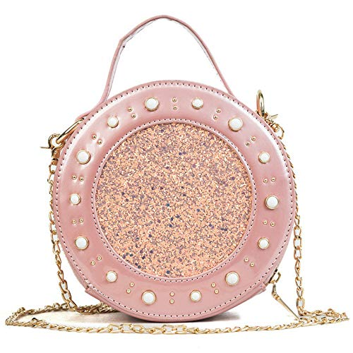 GMYANDJB Lady Sequins Bags Mini Circular Patent Leather Pink Crossbody Bags for Women Flap Purse Rivet Small Round Tote Handbags