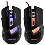 Gaming Mouse Wired USB Blue and Red Led, 2400 DPI 6 Buttons Ergonomic Optical Gaming Mice for PC Games, MAXTREE,Computer Mouse Cool for Gamer,Black