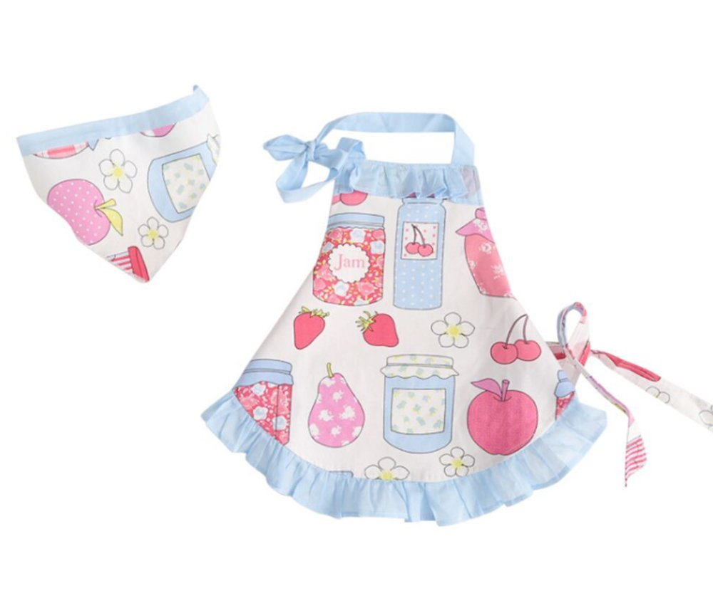 CRB Childrens Bakeware Chef Owl Girls Toddler Kids Apron with Matching Cute Headscarf Outfit Set (3T to 4T (Blue Apples))