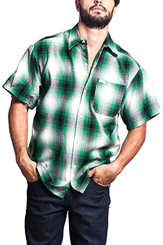 G-Style USA Western Casual Plaid Short Sleeve Button Up Shirt Y2000S - Green - (Acrylic Shirt)