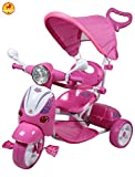 Baybee Vespa Trolly Cycle with Canopy and Parent Control (Pink)