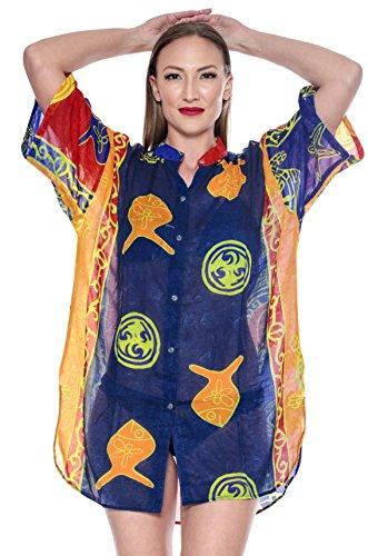 hawa Bleu Femmes Chemise w907 LA enne Marin Bouton LEELA PqanEw1