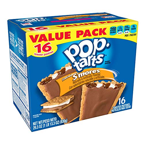 (Pop-Tarts Breakfast Toaster Pastries, Frosted S'mores Flavored, Value Pack, 29.3 oz (16)