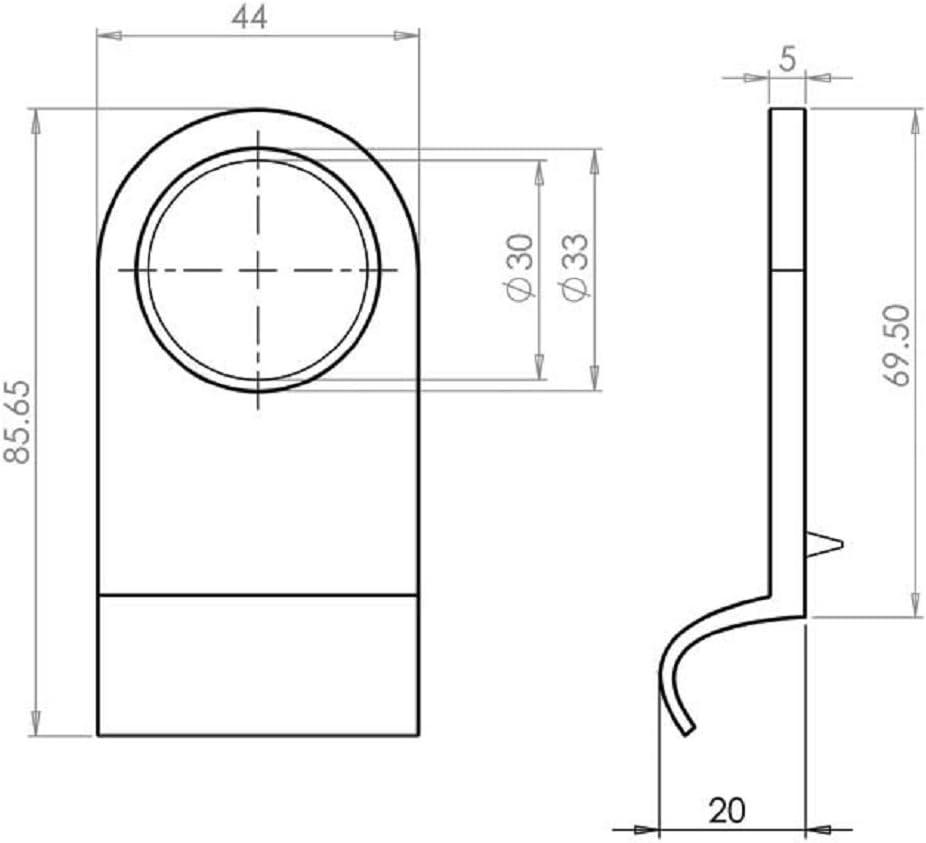 Yale Type Door Lock Cylinder Pull Surround 86 x 44mm Polished Chrome