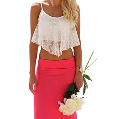28c32ce289a379 Usstore Underwear Intimates Sexy Summer Sleeveless Vest Lace Floral Crop  Top Bralette Bralet Shirt Cami Blouse Tank S M L XL White for Women Lady  Teens ...