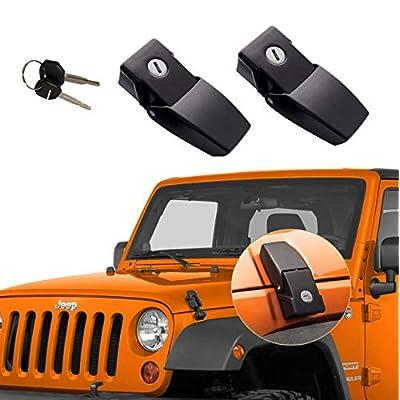 GOHAWKTEQ Anti-Thief Locking Hood Look Catch Latches Kit for 2007 2008 2009 2010 2011 2012 2014 2013 2014 2015 2016 2020 Jeep Wrangler JK JKU G011JP: Automotive