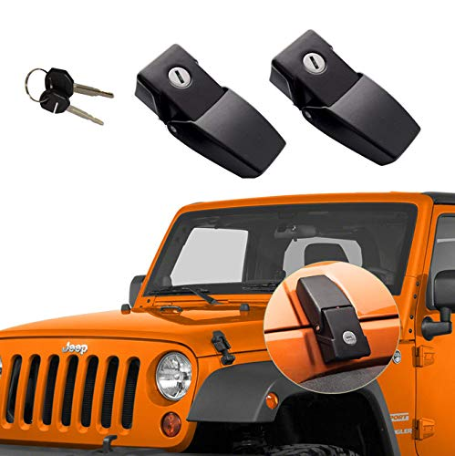 (GOHAWKTEQ Anti-Thief Locking Hood Look Catch Latches Kit for 2007 2008 2009 2010 2011 2012 2014 2013 2014 2015 2016 2017 Jeep Wrangler JK JKU G011JP )