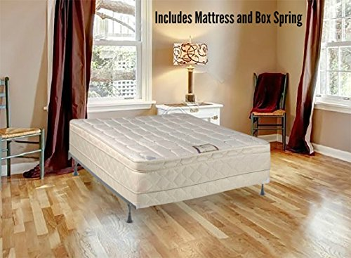 Continental Sleep Plush Quilted Euro Top Orthopedic Ultimate 10-Inch Mattress and Low Profile 4-inch Box Spring, Twin, White by Continental Sleep