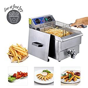Koval Inc. Stainless Steel Commercial Electric Deep Fat Fryer with Drain and Basket (10L, Silver Single Tank)