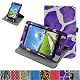 "Acer Iconia One 8 B1-810 / Tab 8 A1-850 Rotating Case,Mama Mouth 360 Degree Rotary Stand With Cute Lovely Pattern Cover For 8"" Acer Iconia One 8 B1-810 / A1-850-13FQ Tablet,Giraffe Purple"