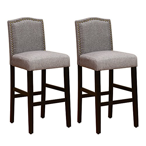 (NOBPEINT Nail Head Studded Fabric Backed Bar Stools 29 inch Set of 2, Gray )