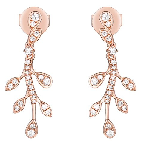 Prism Jewel 0.25Ct G-H/I1 Natural Diamond Olive Leaf Drop Dangling Earrings, 10k Rose Gold