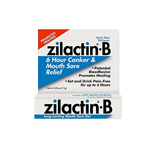 - Zilactin-B Oral Pain Reliever, Long Lasting Mouth Sore Gel 0.25 oz (Pack of 4)