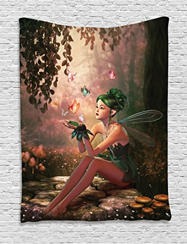 Ambesonne Fairy Tapestry, Girl with Wings and Butterflies Digital Composition Computer Graphics Elven Creature, Wall Hanging for Bedroom Living Room Dorm, 40 W X 60 L Inches, Green ()