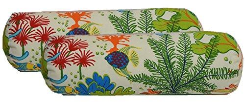 Set of 2 - Indoor / Outdoor Bolster / Neckroll Decorative Pillows - Orange, Yellow, Blue, Green, Red Splish Splash Tropical Fish / Coral Reef Fabric ()