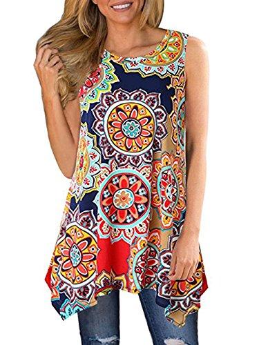 Paewin Women's Cute Floral Print Asymmetrical Hem Tunic Tank Top Multicoloured ()