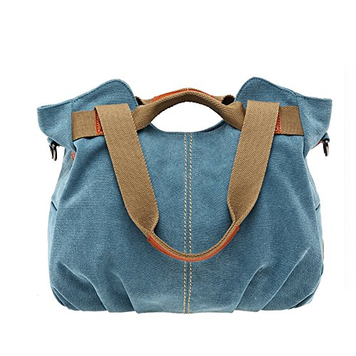 Women Bags Casual Vintage Hobo Canvas Mulit-Pocket Daily Purse Top Handle Shoulder Tote Shopper ()