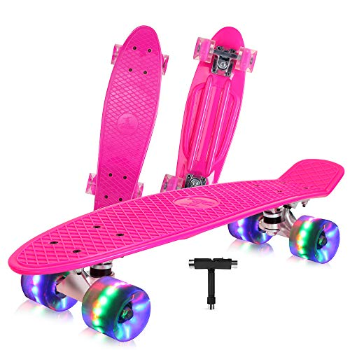 BELEEV Skateboard 22 inch Complete Mini Cruiser Retro Skateboard for Kids Teens Adults, LED Light up Wheels with All-in-One Skate T-Tool for Beginners (Pink)