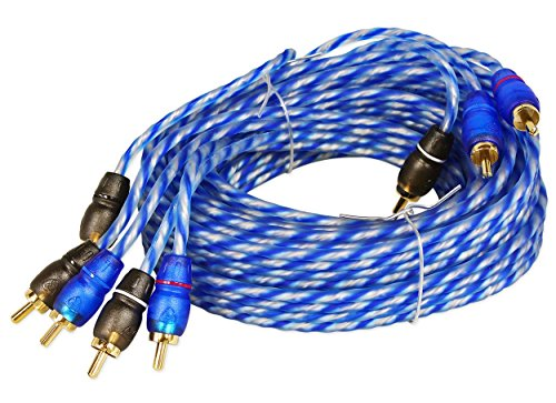 Rockville RTR124 12 Foot 4 Channel Twisted Pair RCA Cable Split Pin, 100% Copper by Rockville